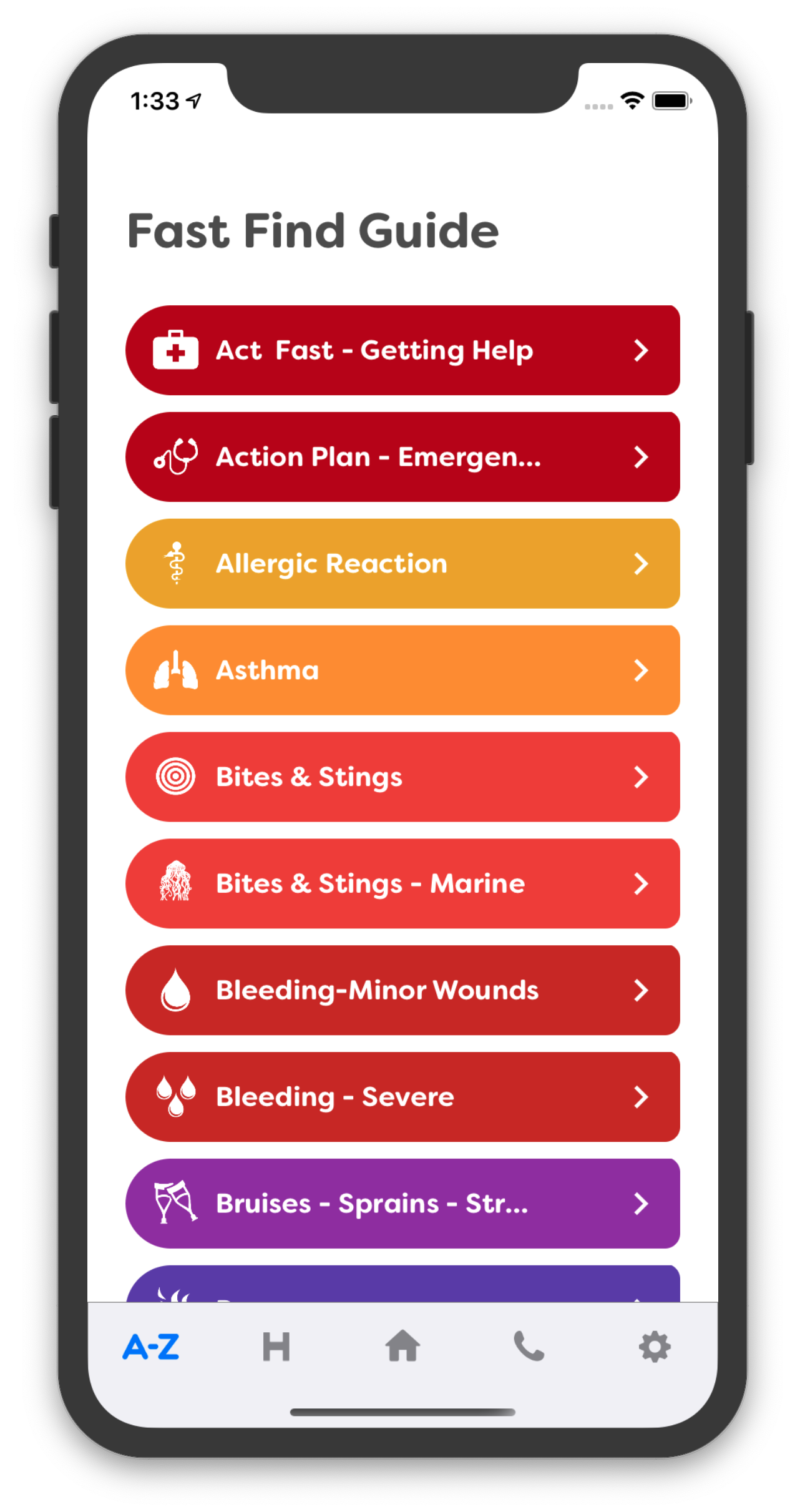 First Aid Fast Home Screen